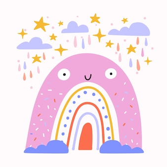 Platte ontwerp smiley regenboog geïllustreerd