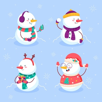 Platte ontwerp sneeuwpop tekenverzameling