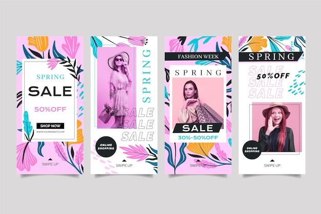 Platte ontwerp social media verhalen lente verkoopsjabloon