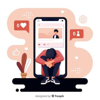 Platte ontwerp sociale media is dodelijk concept