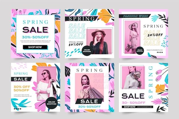 Platte ontwerp sociale media post lente verkoopsjabloon