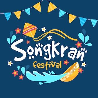 Platte ontwerp songkran festival concept