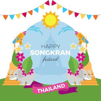 Platte ontwerp songkran festival evenement