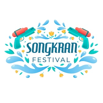 Platte ontwerp songkran festival thema