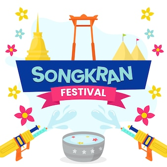 Platte ontwerp songkran festivalstijl