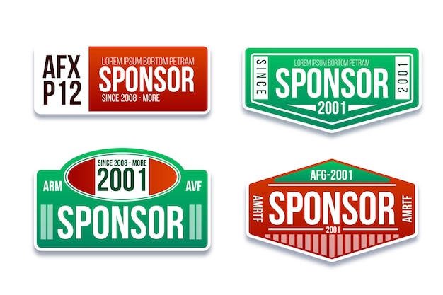 Platte ontwerp sponsor stickers set