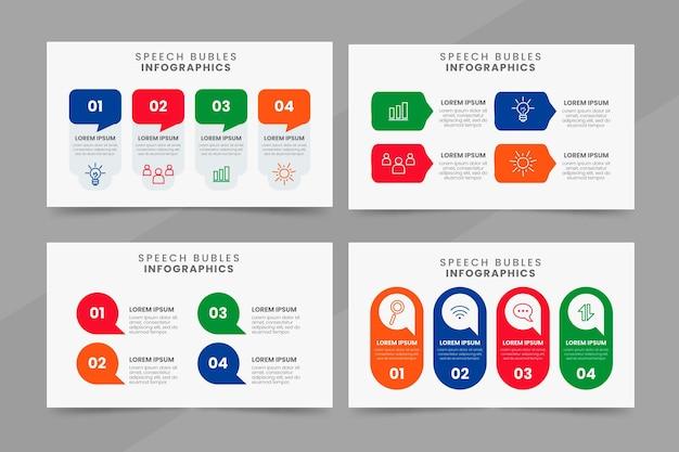 Platte ontwerp spraak bubbels infographics