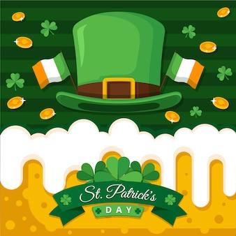 Platte ontwerp st. patrick's day munten en bier