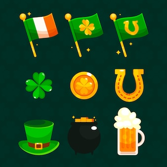 Platte ontwerp st. patricks dag element collectie concept