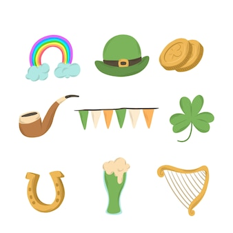 Platte ontwerp st patricks dag element collectie