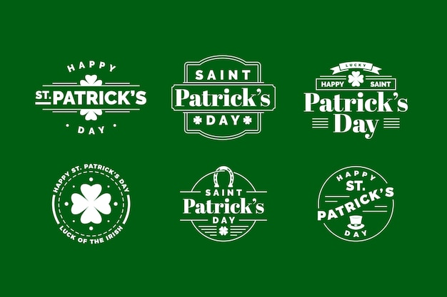 Platte ontwerp st. patricks dag label collectie thema