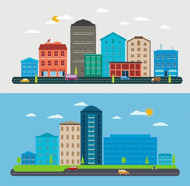 Platte ontwerp stadslandschap, compositie stadsscène, parken, verkeersauto's