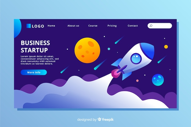 Platte ontwerp startup bestemmingspagina