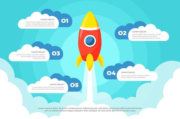 Platte ontwerp startup infographic