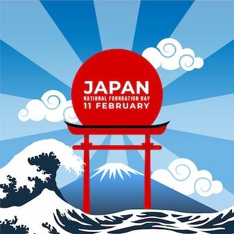 Platte ontwerp stichtingsdag japan