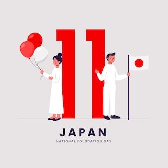 Platte ontwerp stichtingsdag mensen met ballonnen en vlag
