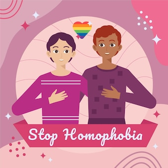 Platte ontwerp stop homofobie concept