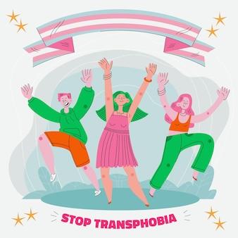 Platte ontwerp stop transfobie concept illustratie
