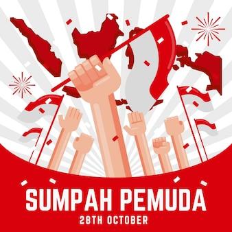 Platte ontwerp sumpah pemuda achtergrond met handen en vlaggen