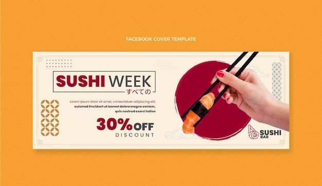 Platte ontwerp sushi week facebook cover