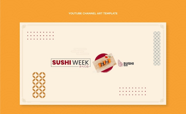 Platte ontwerp sushi week youtube channel art