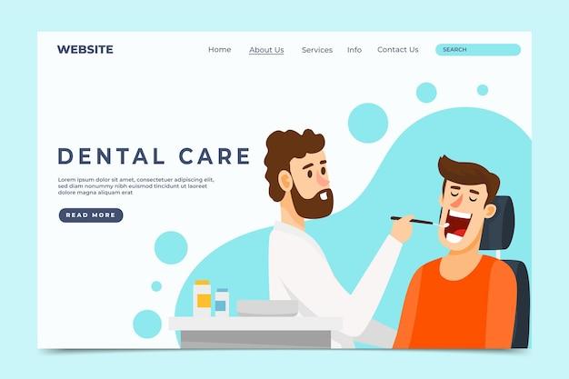 Platte ontwerp tandheelkundige gezondheidszorg websjabloon