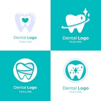 Platte ontwerp tandheelkundige logo-collectie