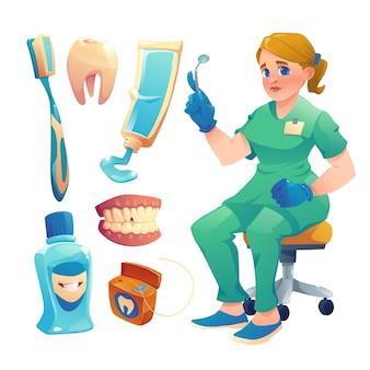 Platte ontwerp tandheelkundige zorg illustratie