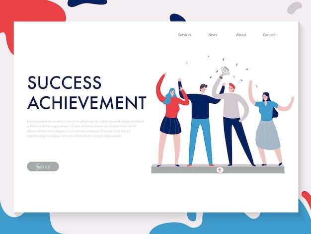 Platte ontwerp teamwerk banner met mensen behaalden samen succes illustratie
