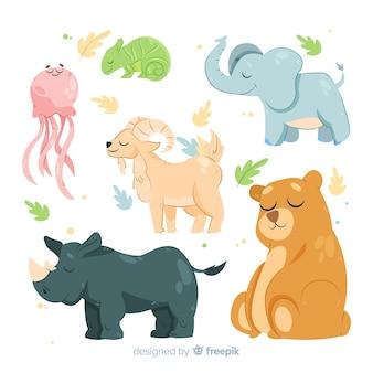 Platte ontwerp tekenfilm dieren