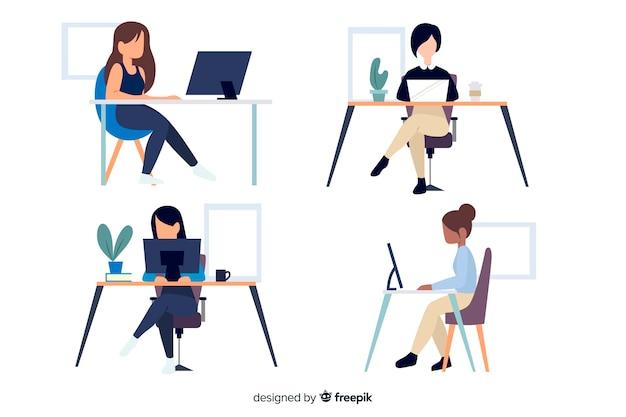Platte ontwerp tekens kantoormedewerkers zitten