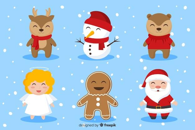 Platte ontwerp tekens kerstcollectie