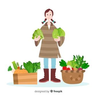 Platte ontwerp tekens landbouw vrouwelijke werknemer