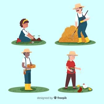Platte ontwerp tekens landbouwers in de natuur