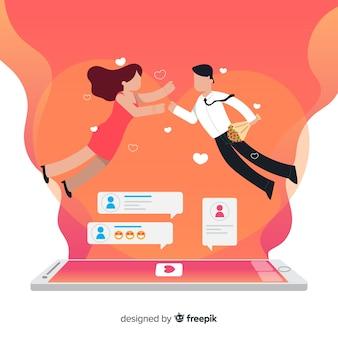 Platte ontwerp tekens met dating app concept