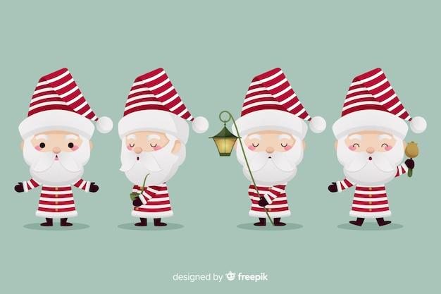 Platte ontwerp tekenset van de kerstman