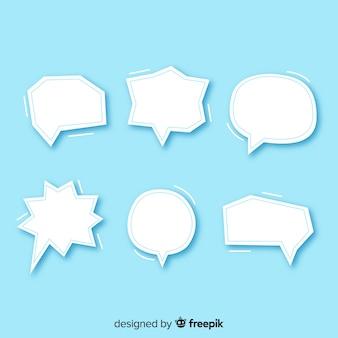 Platte ontwerp tekstballonnen in papieren stijl pack