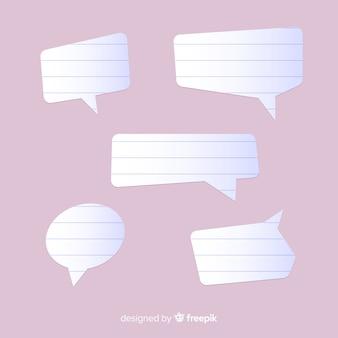 Platte ontwerp tekstballonnen in papierstijl
