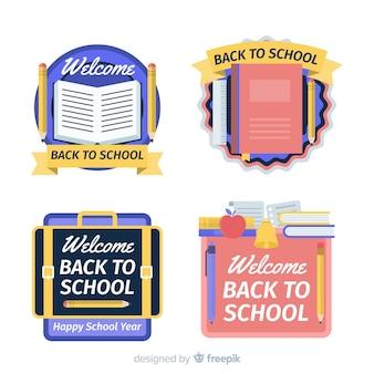 Platte ontwerp terug naar school badge-collectie