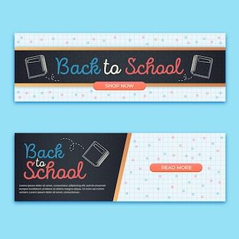 Platte ontwerp terug naar school banners set