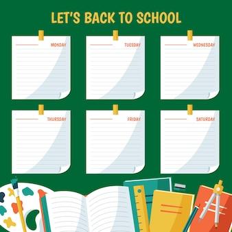 Platte ontwerp terug naar school geheugen notities tijdschema