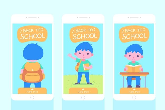 Platte ontwerp terug naar school instagram verhalencollectie