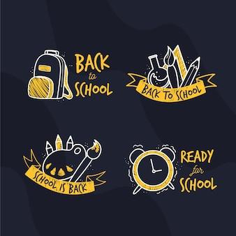 Platte ontwerp terug naar school labels set