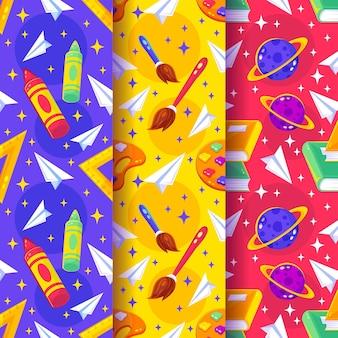 Platte ontwerp terug naar school patroon set