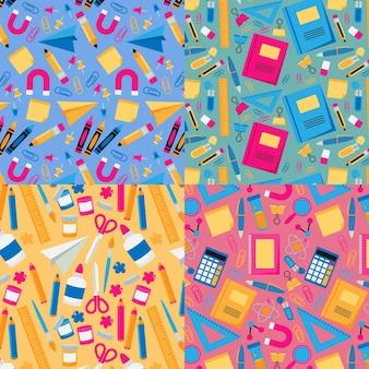 Platte ontwerp terug naar school patrooncollectie