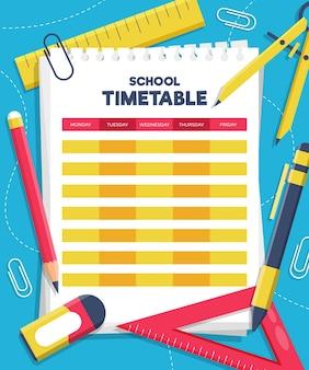 platte ontwerp terug naar school tijdschema sjabloon