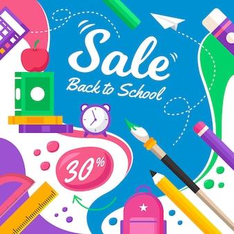 Platte ontwerp terug naar school verkoop illustratie