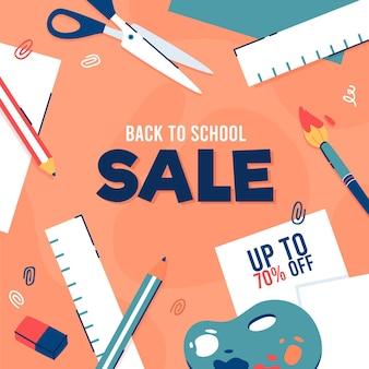 Platte ontwerp terug naar school verkoopconcept