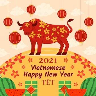 Platte ontwerp têt (vietnamees nieuwjaar) achtergrond met stier