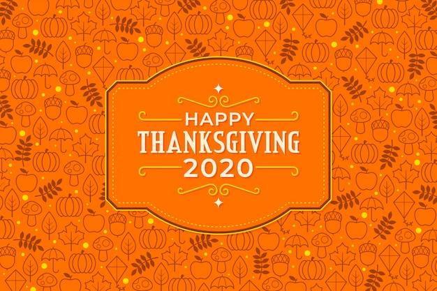 Platte ontwerp thanksgiving achtergrond 2020